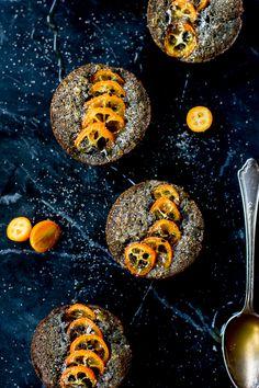Black Sesame Kumquat Financiers {Gluten-Free} – The Bojon Gourmet Fragrant little tea cakes packed full of vanilla bean brown butter, almond flour, and ground black sesame seeds get a kick in the pants from slices of sweet-tart kumquats. Gluten Free Muffins, Gluten Free Baking, Tea Cakes, Cupcake Cakes, Cupcakes, Sweet Desserts, Sweet Recipes, Delicious Desserts, Sesame Recipes