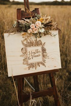 Laser cut timber welcome sign adorned with blush roses, feathers and dried folia. - Laser cut timber welcome sign adorned with blush roses, feathers and dried foliage for wild bohemia - Wooden Wedding Signs, Wedding Welcome Signs, Wedding Signage, Wedding Venues, Backdrop Wedding, Wedding Ceremony, Gold Wedding, Dream Wedding, Wedding Pins