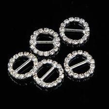 50 Pcs Round Glass Rhinestone Diamante Buckle Sliders Wedding Invitation Craft