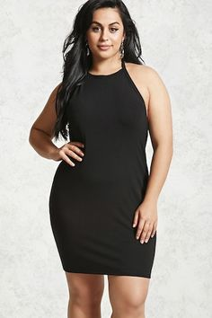 Forever - A knit dress featuring a self-tie halter neck, exposed back, and a bodycon silhouette. Halter Bodycon Dress, Bodycon Cocktail Dress, Plus Size Dresses, Plus Size Outfits, Trendy Plus Size Fashion, Full Figured Women, Plus Size Women, Knit Dress, Fashion Outfits