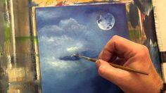 Beginners Acrylic Painting Tutorial -Moon Light Bird Part 2