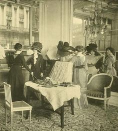The Parisian showroom of Doucet    c. 1910 (Look at those large hats!)