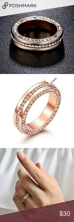18k Rose Gold Diamond Eternity Wedding Band Ring Luxury 18k Rose Gold over Stainless Steel 316L Highest Quality Diamond Cubic Zirconia Cz Eternity Engagement Wedding Anniversary Bridal Promise Band Ring.  ✴100% Brand New!!! ✴Size: 8 and 9 ✴Metal : 316L Stainless Steel ✴Stones :High Quality Created Diamond Cubic Zirconia that Sparkle Glitter and Shine Like Real Diamonds ✴100% Lead and Nickel Free ✴Will Not Tarnish or Fade  ❤Engagement Anniversary Promise Wedding Proposal Valentine's Day Gift…