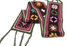 Items similar to Crochet Granny Square Scarf - Wool - Neckwarmer - Boho - Fringe - Muffler on Etsy Granny Square Scarf, Granny Squares, Crochet Scarves, Crochet Hats, Crochet Handbags, Neck Wrap, Crochet Granny, Gifts For Wife, Neck Warmer