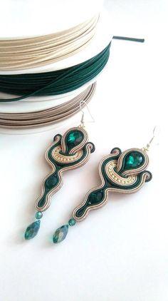 Soutache Pendant, Soutache Earrings, Big Earrings, Handmade Beaded Jewelry, Earrings Handmade, Hippie Jewelry, Shibori, Jewelery, Jewelry Design