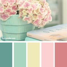 25 Ideas For Bath Room Pink Blue Color Balance Green Color Schemes, Green Colour Palette, Room Color Schemes, Color Palate, Green Colors, Spring Color Palette, Colours, Paint Schemes, Vintage Colour Palette