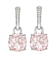 Kiki Classic Morganite and Diamond Cushion Drop Earrings