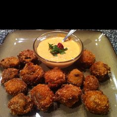 fried mushrooms with red pepper garlic aioli dipping sauce  Www.peaceloveandlowcarb.com >> this all sounds good!