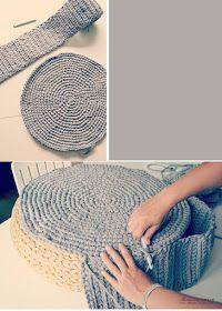 The Crochet Underground: Crochet Mondays: Puffffffs Crochet Pouf Pattern, Crochet Diy, Crochet Cushions, Crochet Pillow, Crochet Home, Crochet Crafts, Fabric Crafts, Crochet Projects, Crochet Patterns