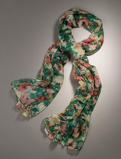 Talbots Painterly Floral Scarf in Rose Quartz $59.50, to go with Grenadine jacket, picks up hints of red tones in the scarf- perfect match