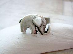 Elephant Ring - antique silver style. $10.00, via Etsy.