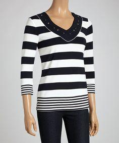 Look what I found on #zulily! Stripe Navy & White Stripe Three-Quarter Sleeve Top #zulilyfinds