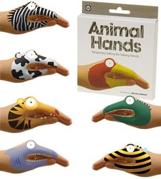 Forget making a shadow bird with your hands and just turn your hand into a bird! Animal Hands temporary tattoos give a whole new meaning behind the phrase 'talk to the hand'.   Get silly and creative with the wild kingdom. Turn your hand into a shark, a zebra, a giraffe with 8 animals in each set you'll wish you had more hands to spare! Why go to the zoo when you have Animal Hands?   Simple application with water.   Instructions included.