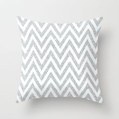 CHEVRON SILVER Throw Pillow by FineandDandyPaperie - $20.00