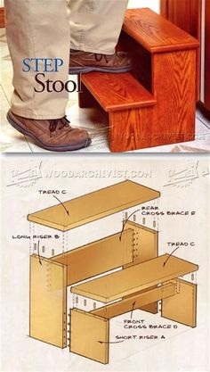 Step Stool Plans - Furniture Plans and Projects - Woodwork, Woodworking, Woodworking Plans, Woodworking Projects Woodworking Furniture Plans, Easy Woodworking Projects, Popular Woodworking, Diy Wood Projects, Woodworking Shop, Woodworking Jigsaw, Youtube Woodworking, Woodworking Patterns, Woodworking Classes