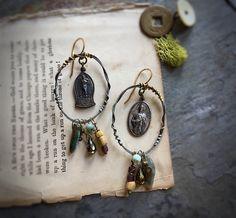 East West Devotions Rustic Hoop Earrings (49.00 USD) by AlteredIIArcheology - handmade - jewelry - jewellery - artisan ---