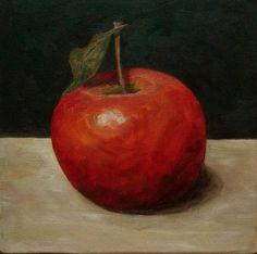 Apple Oil Painting Kitchen Art Fruit Painting 6x6 Canvas
