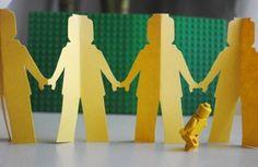 Lego kirigami pattern | patron pour guirlande de bonshommes Lego