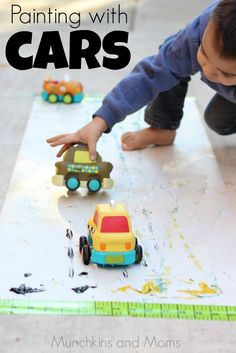 Painting with cars- this would be great for a preschool trasportation theme!