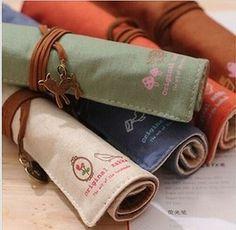 NEW Vintage Wrap Roll Up Canvas Pen Pencil Case Makeup Bag Storage Pouch Holder