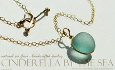 Sea Glass Genuine Sea Glass Seaglass Jewelry Aqua Sea Glass Handmade Necklace Gold Filled Summer Brides by CinderellaByTheSea on Etsy Real Gold Jewelry, Gold Filled Jewelry, Gold Filled Chain, Sea Glass Necklace, Sea Glass Jewelry, Glass Beads, Aqua Glass, Glass Photo, Timeless Beauty