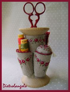 scissor holder wooden spool with pin cushion