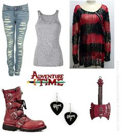 Marceline (Adventure Time) inspired outfit <3  Everything but the boots, probably red converses or Vans would be better :3