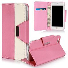 """6 Case, iPhone 6 Wallet Case, SGM (TM) Premium PU Leather Wallet Case [Stand Feature] For iPhone 6 4.7"""" With Slots For Cash, Cards, IDs (Pink + White) SGM http://www.amazon.com/dp/B00MUJ2QL0/ref=cm_sw_r_pi_dp_2uB-vb1SH2MXQ"""
