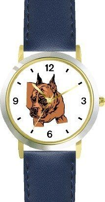 Boxer No.2 Dog - WATCHBUDDY® DELUXE TWO-TONE THEME WATCH - Arabic Numbers - Blue Leather Strap-Children's Size-Small ( Boy's Size & Girl's Size ) WatchBuddy. $49.95. Save 38% Off!