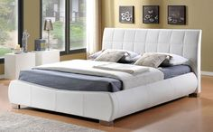 Enjoy a great night's sleep every night on the Dorado White Leather King Size Bed, which combines a stylish modern design with superb comfort. Upholstered in quality faux leather, its low profile helps to create a spacious look in the bedroom, while a central rail provides extra stability and the sprung slatted base offers great support.