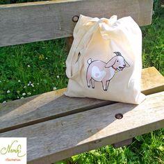 Goat Tote Bag Cotton Shopper Illustrated by nemki on Etsy, £7.50