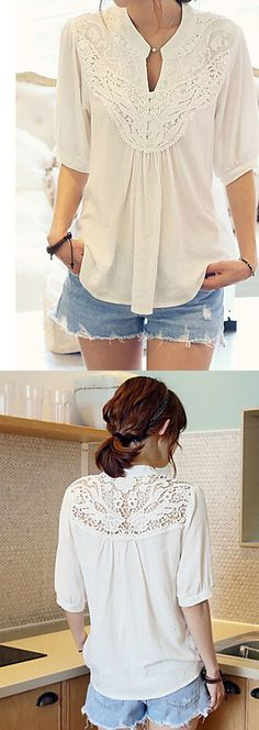 Casual elegant chic spring patchwork lace blouse. Add some denim skirt or jeans for your daily look. Click to check it out.