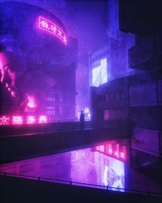 Futuristic synthwave cyberpunk city a guy person waiting on the bridge alone neon pink lights Aesthetic Japan, City Aesthetic, Aesthetic Themes, Purple Aesthetic, Cyberpunk Aesthetic, Cyberpunk City, Futuristic City, Neon Noir, Neon Nights