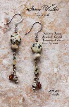 Handcrafted Earrings Dalmatian Jasper Swarovski Crystal Tourmalated Quartz Dangle Drop with Steel Earwires: Stormy Weather