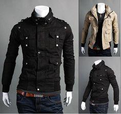 New Men's Fashion Casual Slim Fit Coats Jackets Black Beige US XS s M L | eBay $28.99