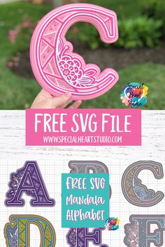 FREE Layered Mandala Alphabet SVG Free SVG files for Cricut, Silhouette, Glowforge, etc. Mandala letters with flowers and geometric shapes. Cajas Silhouette Cameo, Silhouette Cameo Free, Silhouette Machine, Silhouette Curio, 3d Cuts, Cricut Svg Files Free, Cricut Fonts, Free Svg Cut Files, Flower Letters