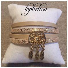 bracelet en cuir, accroche reve plaqué or