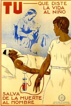 Ismay joins the war effort as a Republican nurse and on several occasions, gives blood to wounded soldiers Vintage Artwork, Vintage Posters, Spanish Posters, Political Posters, Anarchism, Party Poster, Children Images, Old Ads, Red Cross