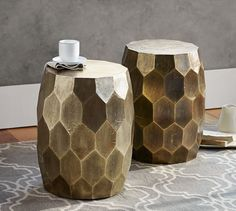 Vince Metal-Clad Accent Stool   Pottery Barn
