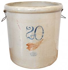 Stoneware Red Wing crock, 20 gal w/Wing, wire handles, : Lot 480