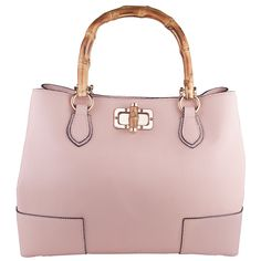 Stephanie Powder Pink Italian leather bamboo look wooden handle bag