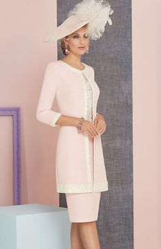Veni Infantino 991314 Colour Rose & Ivory, price £714. A knee length satin back crepe dress lace appliques, wide waistband and matching ¾ length sleeved jacket.
