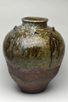 Early Tamba natural glaze four-ear jar