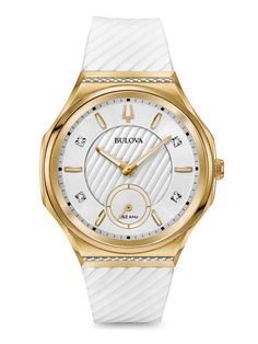 Ladies  Bulova Curv Diamond Accent Gold-Tone Strap Watch with White Dial  (Model  043071df73f