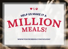 Tony delivers million meals for Thanksgiving