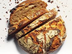 Our daily bread contains flour, grains, salt, water. Sourdough of course. It is rock hard the next day after baking if exposed to air. It s a good stuff.