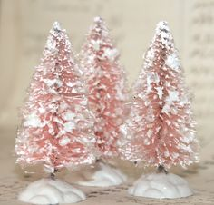 Vintage Inspired Flocked and Frosted Pink Colored Set of 3 Bottle Brush Tree/Decoration 2 1/2  (tpt1). $6.95, via Etsy.