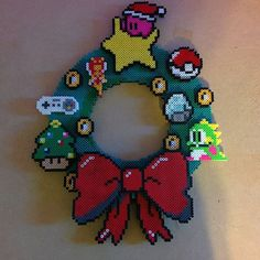 Video game Christmas wreath perler beads by robothottdog