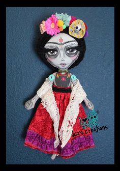 "Lovely Frida by artist Jazmin Molina - Mixed media art doll, 16.5"" tall - $150 - RESERVED"