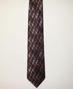 Croft & Barrow Mens Red Grey Geometric 100% Silk Dress Necktie Neck Tie 60in #CroftBarrow #Tie